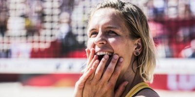 VIENNA, AUSTRIA - AUGUST 05: Laura Ludwig of Germany celebrate after winning the gold medal match during Day 9 of the FIVB Beach Volleyball World Championships 2017 on August 5, 2017 in Vienna, Austria. (Photo by Malte Christians/Hoch Zwei) | Verwendung weltweit